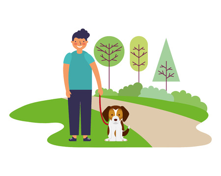 happy boy with pet dog in the park vector illustration