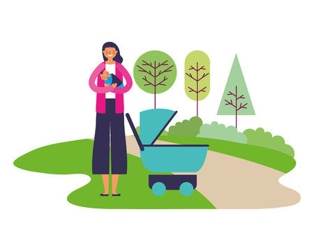 mother carrying baby boy and stroller in the park vector illustration