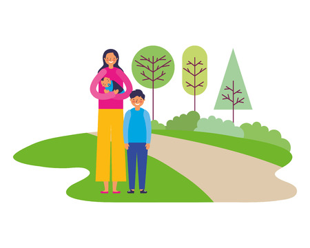 mother carrying baby and son in the park vector illustration Stock Illustratie