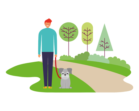 happy man with pet dog in the park vector illustration