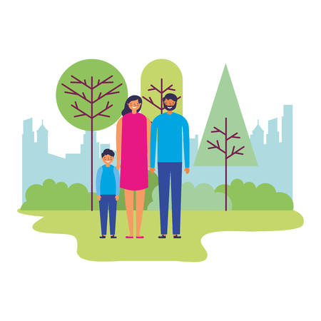 family parents and son together in the park vector illustration