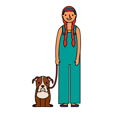 happy girl with her pet dog vector illustration Banco de Imagens - 127315686