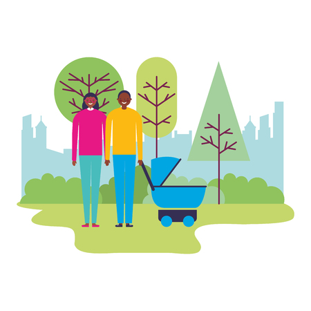 parents with baby pram family in the park vector illustration