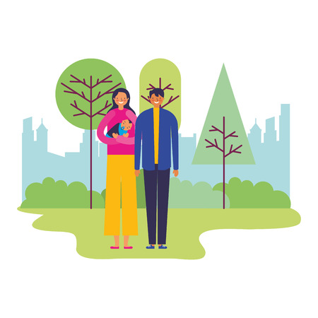 parents carrying baby boy in the park vector illustration Illustration