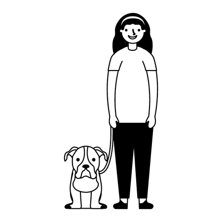 happy girl with her pet dog vector illustration monochrome 스톡 콘텐츠 - 112721094