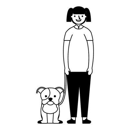 happy girl with her pet dog vector illustration monochrome