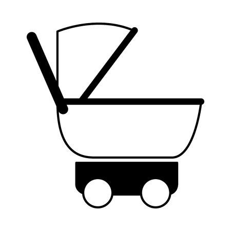 pram baby on white background vector illustration monochrome