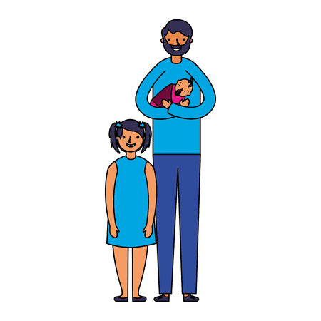 father carrying baby and daughter vector illustration