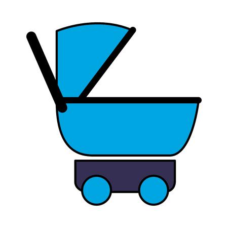 pram baby on white background vector illustration