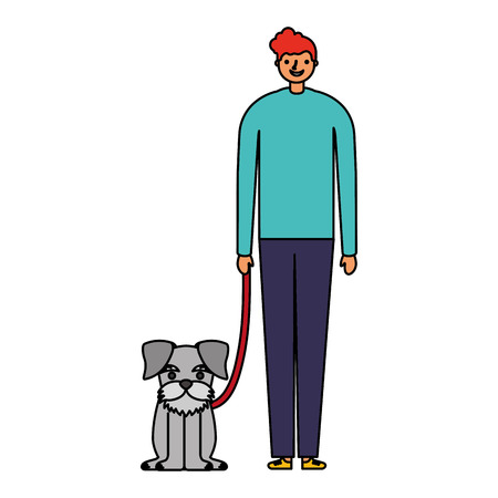 happy man with her pet dog vector illustration 版權商用圖片 - 127315718