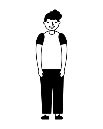 young boy standing on white background vector illustration monochrome