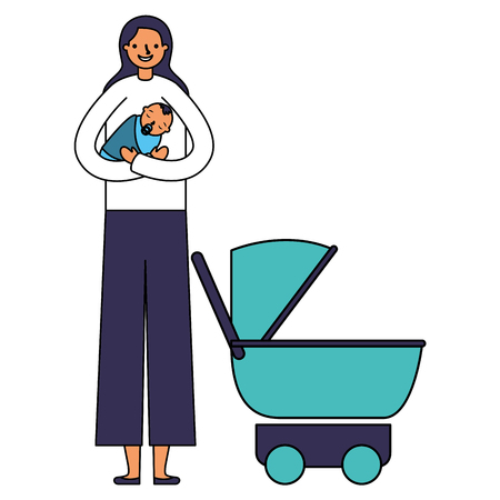 mother carrying her baby boy and stroller vector illustration Illustration