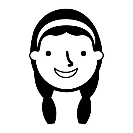 happy young girl face character vector illustration monochrome