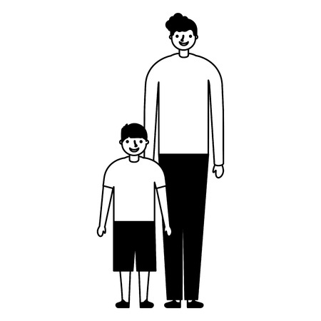 family happy father and son vector illustration monochrome Illustration