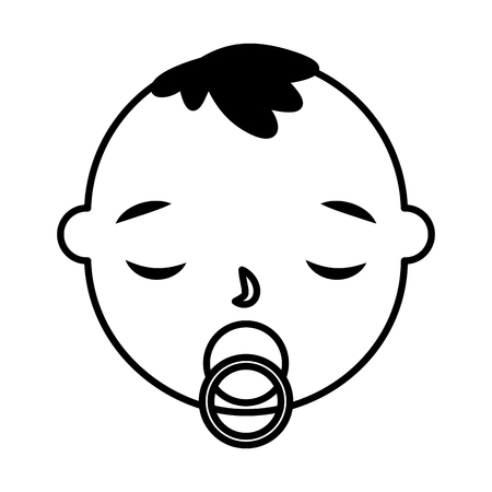 cute baby boy face with pacifier vector illustration monochrome