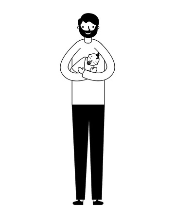 father carrying a her baby girl vector illustration monochrome