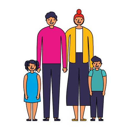 family parents and kids together vector illustration