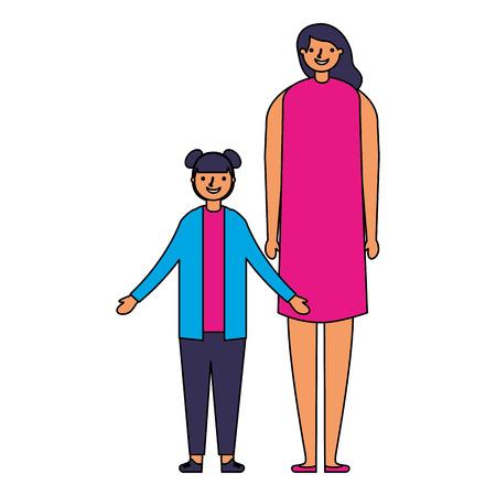 family happy mother and daughter vector illustration Ilustração