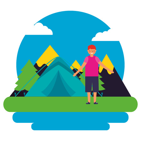 boy tent mountains day landscape camping vector illustration