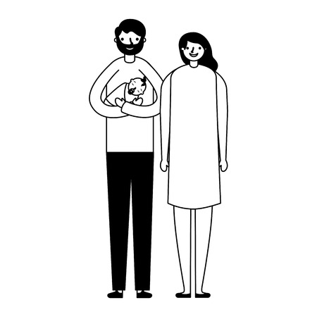 parents carrying her baby daughter vector illustration   monochrome