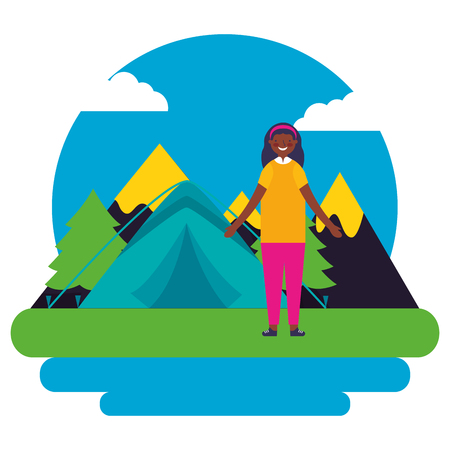 girl tent mountains day landscape camping vector illustration