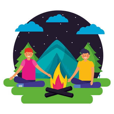 boys tent forest night landscape camping vector illustration