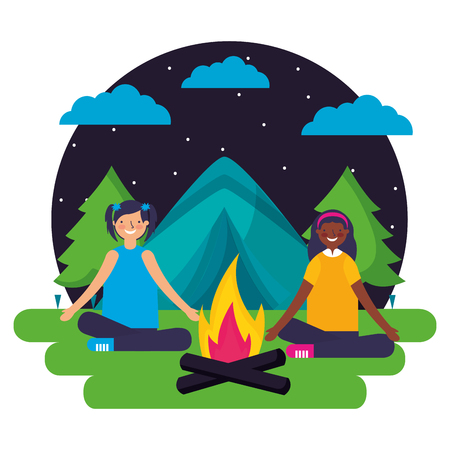 girls tent forest night landscape camping vector illustration Banque d'images - 127315746