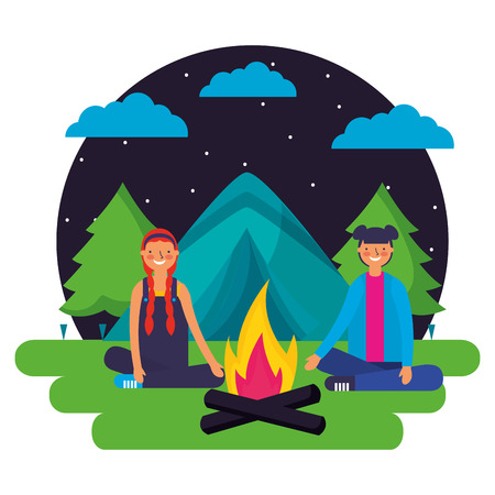 girls tent forest night landscape camping vector illustration Illustration