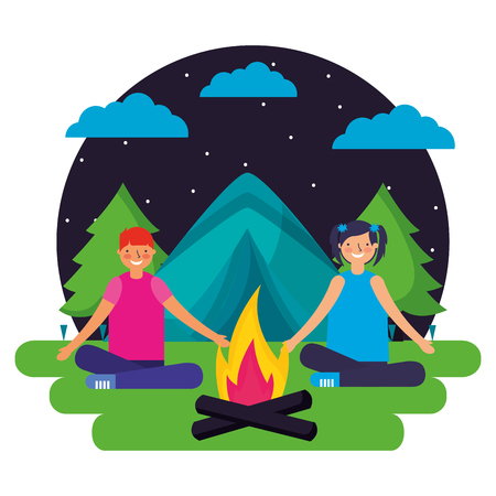 boy and girl tent forest night camping vector illustration