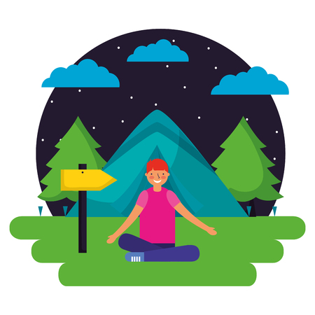 boy tent forest night camping vector illustration Çizim