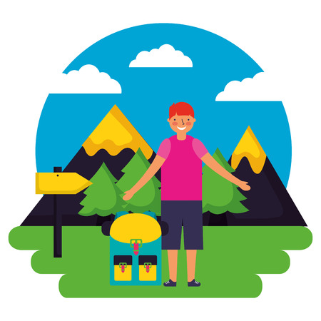 boy and backpack signal mountains landscape camping vector illustration