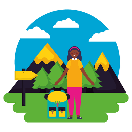 girl and backpack signal mountains landscape camping vector illustration Illustration