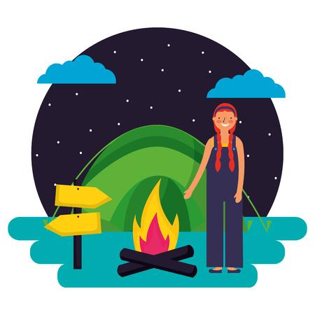 girl tent bonfire night camping vector illustration Stockfoto - 127315768