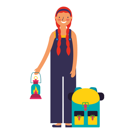 happy girl with lantern and backpack camping vector illustration Illusztráció