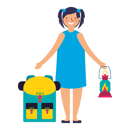 happy girl with lantern and backpack camping vector illustration Иллюстрация