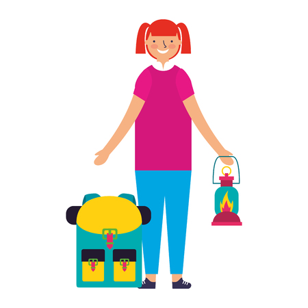 happy girl with lantern and backpack camping vector illustration Zdjęcie Seryjne - 112721594