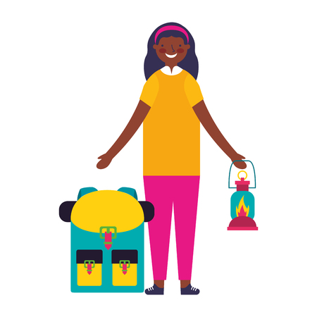 happy girl with lantern and backpack camping vector illustration Ilustracja