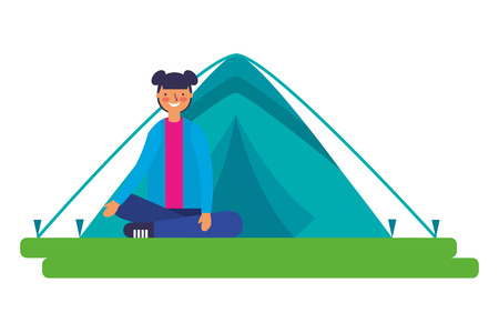 girl sitting crossed legs with tent camping vector illustration