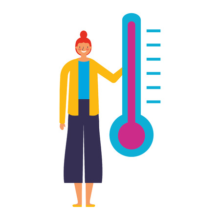 woman character with temperature thermometer