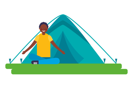 boy sitting crossed legs with tent camping vector illustration