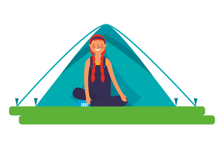 girl sitting crossed legs with tent camping vector illustration Stock Vector - 127315798