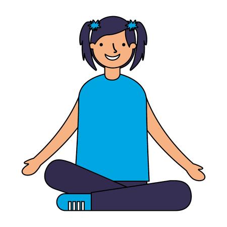 smiling girl sitting crossed legs vector illustration