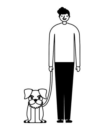 happy man with her pet dog vector illustration monochrome