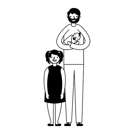 father carrying baby and daughter vector illustration monochrome  イラスト・ベクター素材
