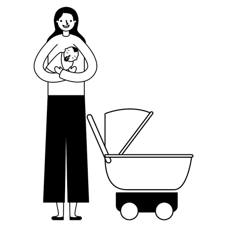 mother carrying her baby boy and stroller vector illustration monochrome