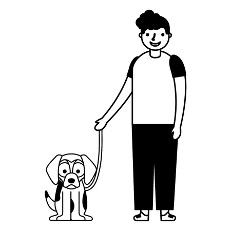 happy boy with her pet dog vector illustration monochrome
