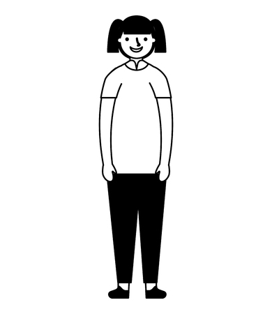 young girl standing on white background vector illustration monochrome Иллюстрация