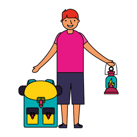 happy boy with lantern and backpack camping vector illustration Illustration