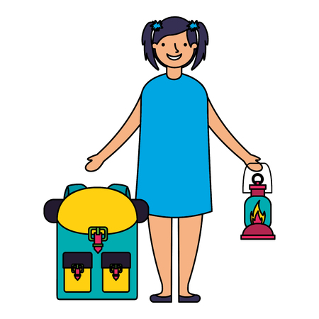 happy girl with lantern and backpack camping vector illustration Illustration