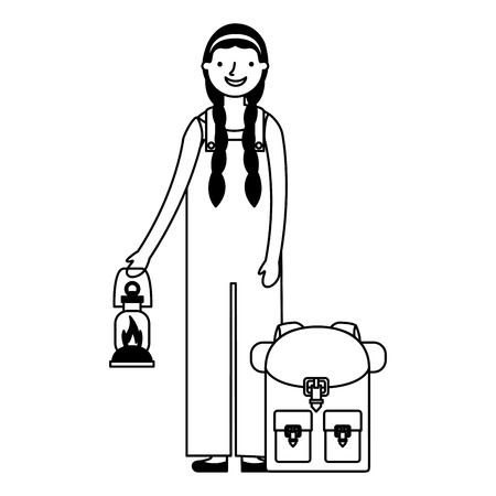 happy girl with lantern and backpack camping vector illustration Zdjęcie Seryjne - 112722431